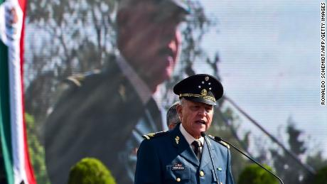 Gen. Salvador Cienfuegos Zepeda  adresses soldiers at a military base in Mexico City in April 2016.