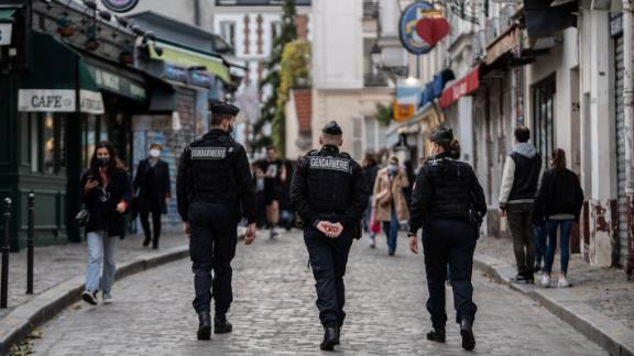 French Gendarmes patrol in Montmartre, on November 14, 2020 in Paris, as France is on a lockdown to tackle the spread of the Covid-19 pandemic caused by the novel coronavirus.