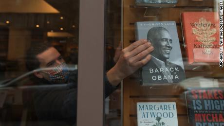 Former President Barack Obama's memoir on a window display at the Greenlight Bookstore in Brooklyn on November 17, 2020 in New York City.