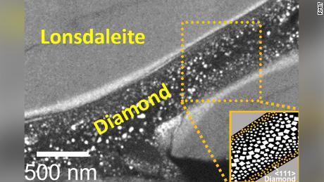 This close-up image shows the diamond