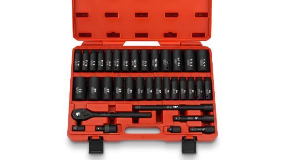 Neiko 02446A 1/2-Inch Drive Master Impact Socket Set, 35-Piece Deep Socket Assortment