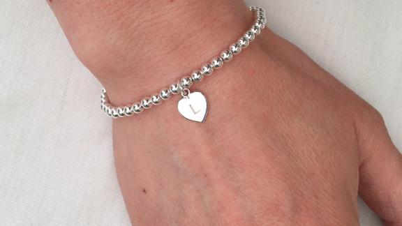 Chalso Sterling Silver Bracelet with Initial Heart Charm