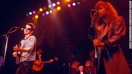 Shane MacGowan Of The Pogues is pictured performing with Kirsty MacColl, who died in a boating accident aged 41.
