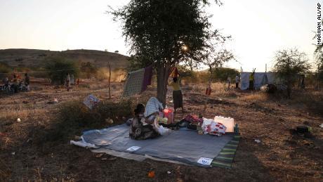 Ethiopian refugees gather in the Gedaref region in eastern Sudan on November 18, 2020.