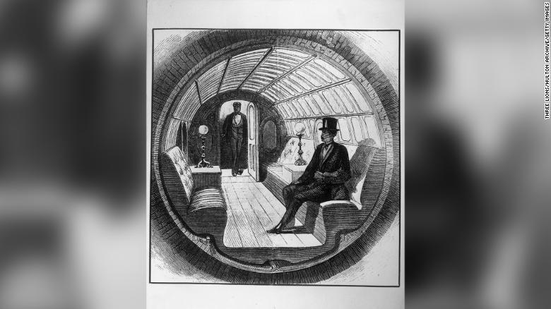 Upaya Alfred's Beach untuk membuat layanan transportasi pneumatik bawah tanah ditampilkan.  (Foto 1870 oleh Three Lions / Getty Images)