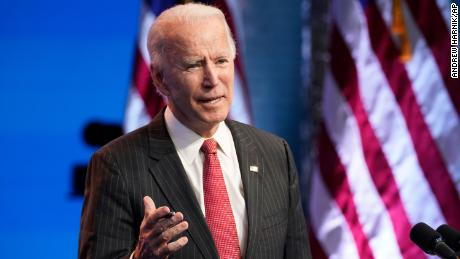 President-elect Joe Biden, accompanied by Vice President-elect Kamala Harris, speaks at The Queen theater, Thursday, Nov. 19, 2020, in Wilmington, Del.