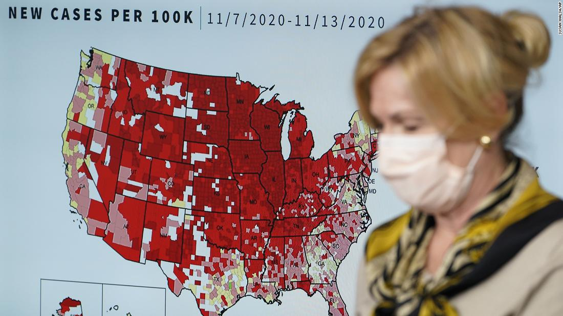 Dr. Deborah Birx, the White House coronavirus response coordinator, speaks during a news conference on Thursday, November 19. Birx became the first official with the White House Coronavirus Task Force to speak at a briefing while wearing a face mask.