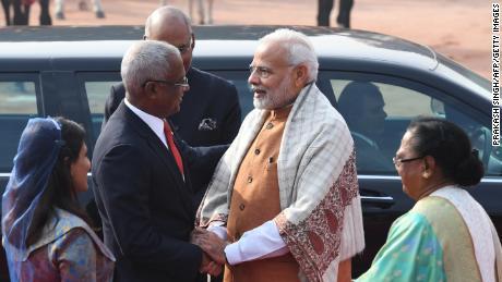 Indian Prime Minister Narendra Modi welcomes Maldives President Ibrahim Mohamed Solih in New Delhi in December 2018.