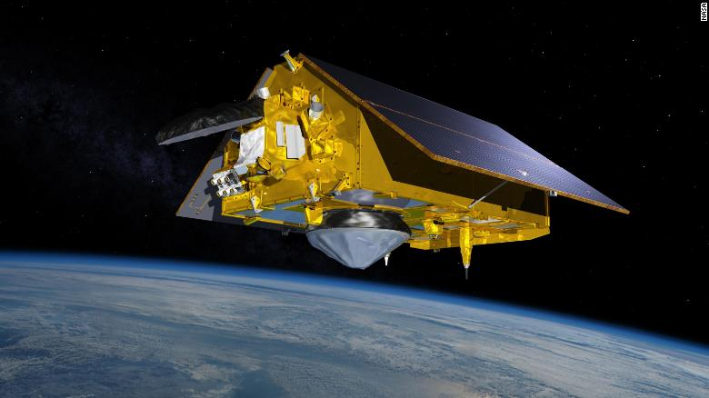 This illustration shows the Sentinel-6 Michael Freilich spacecraft in orbit above Earth.