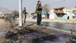 KABUL, AFGHANISTAN-NOVEMBER 21: Afghan security officials inspect the scene of magnetic bomb blasts and rocket attacks in Kabul, Afghanistan on November 21, 2020. At least 8 people were killed and 31 others wounded officials confirmed. (Photo by Haroon Sabawoon/Anadolu Agency via Getty Images)