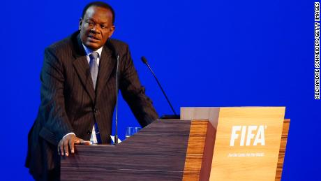 Yves Jean-Bart speaks to the audience during the 64th FIFA Congress.