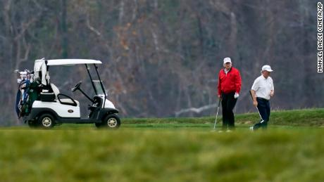 President Donald Trump plays golf at Trump National Golf Club in Sterling, Virginia, Saturday, November 21, 2020.