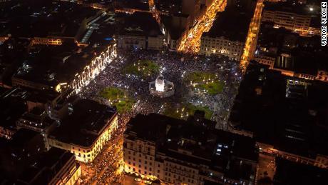 Protests in Lima's Plaza San Martin on November 14.