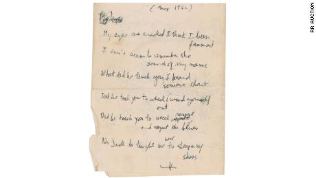 Previously unpublished lyrics written by Bob Dylan in 1962.