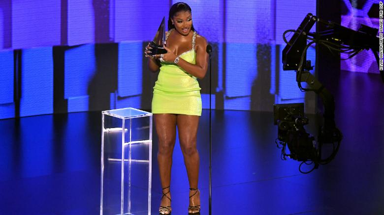 Megan Thee Stallion accepts the award for Favorite Rap/Hip-Hop at the American Music Awards.  (Photo by Kevin Winter/Getty Images for dcp)