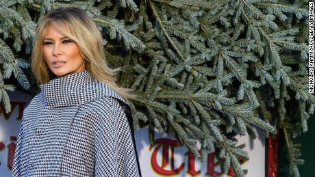 US First Lady Melania Trump receives the White House Christmas Tree at the White House in Washington, DC, on November 23, 2020.