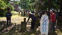 The Wyandotte Nation and the United Methodist Church gather at a cemetery in Upper Sandusky, Ohio.