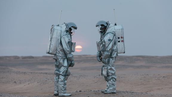 Analog astronauts Joao Lousada and Stefan Dobrovolny are pictured here before sunset.