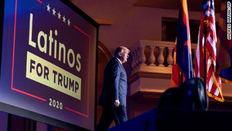 In this September 14, 2020, file photo, President Donald Trump arrives for a Latinos for Trump Coalition roundtable at Arizona Grand Resort & Spa in Phoenix.