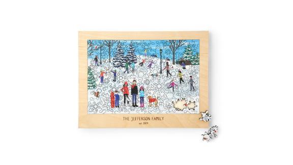 پازل شخصی شده روز برف خانوادگی