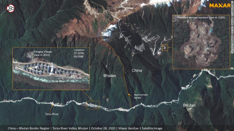 Satellite images appear to show China developing area along disputed border with India and Bhutan