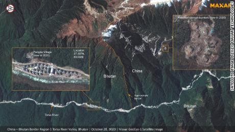 An annotated satellite image of the China-Bhutan border in the disputed region of Doklam which appears to show a newly constructed village and supply depot.