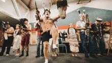 The Wiyot tribe celebrates the return of Duluwat Island in a ceremony in Eureka, California, on October 21, 2019.