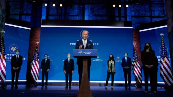 President-elect Joe Biden and Vice President-elect Kamala Harris introduce their nominees and appointees to key national security and foreign policy posts at The Queen theater, Tuesday, Nov. 24, 2020, in Wilmington, Del.