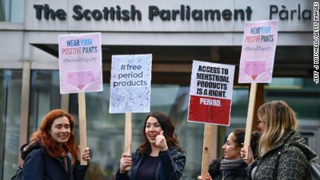 MSP Monica Lennon (second left) with campaigners against period poverty outside Scotland's Parliament in February.