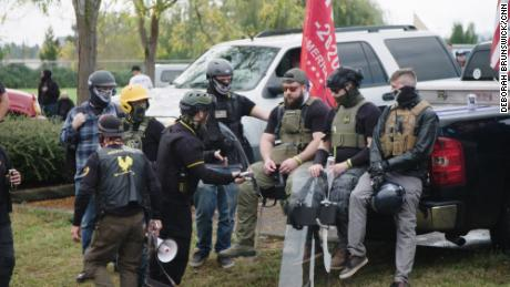 A group of Proud Boys gather at a rally in Delta Park in Portland, Oregon, on September 26, 2020.