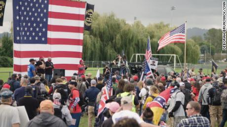 Attendees listen to speakers at a Proud Boys rally in Delta Park in Portland, Oregon, on September 26, 2020.