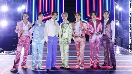 The K-pop group BTS performing for the American Music Awards on November 22, 2020, in South Korea.