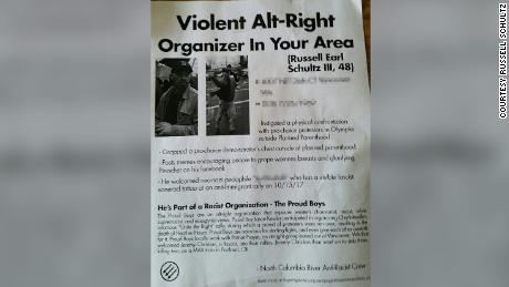 A flyer warning about Russell Schultz and the Proud Boys. CNN has blurred parts of this image to protect an individual's personal information.