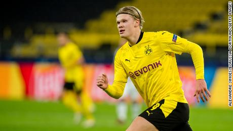 Haaland in action during Dortmund's Champions League match against Club Brugge.
