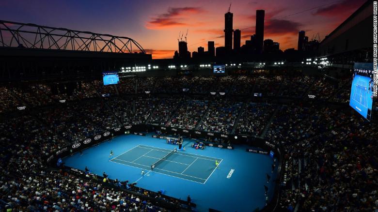Pemandangan umum di dalam Rod Laver Arena selama Australia Terbuka 2020 di Melbourne Park.