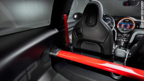 There are no back seats in the Mini Cooper John Cooper Works GP. Instead, there's a metal bracing bar.