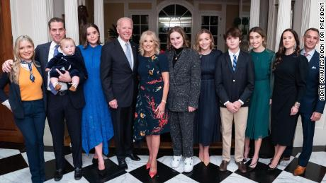 The Biden family poses for a picture on Saturday, November 7, 2020. From left: Melissa Cohen, Hunter Biden, Beau Biden, Naomi Biden, President-elect Joe Biden, Dr. Jill Biden, Maisy Biden, Finnegan Biden, Hunter Biden, Natalie Biden, Ashley Biden, and Dr. Howard Krein.