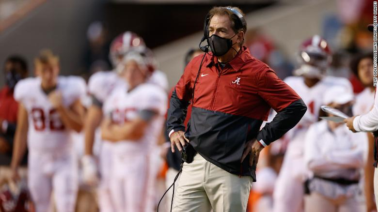 Alabama's Nick Saban tests positive for Covid-19 for a second time