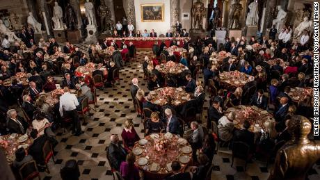 President Donald J. Trump sitting at the table next to First Lady Melania Trump, American Congressional leaders and lawmakers will attend the inaugural lunch to honor the newly sworn president at the U.S. Capitol in Washington DC on Friday.  January 20, 2017