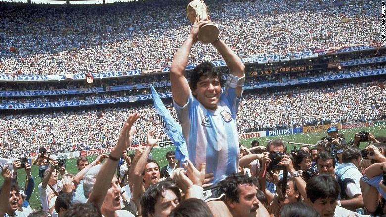 Diego Maradona is carried around the field after leading Argentina to victory in the 1986 World Cup final. Argentina defeated West Germany at the Azteca Stadium in Mexico City.