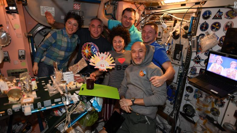 It's not Thanksgiving in space without some handmade turkey decor.