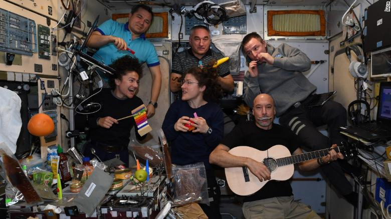 The crew formed a band to serenade mission control centers around the world.