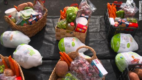 Thanksgiving baskets are prepared for families in need at Agatha House Foundation in the Bronx.