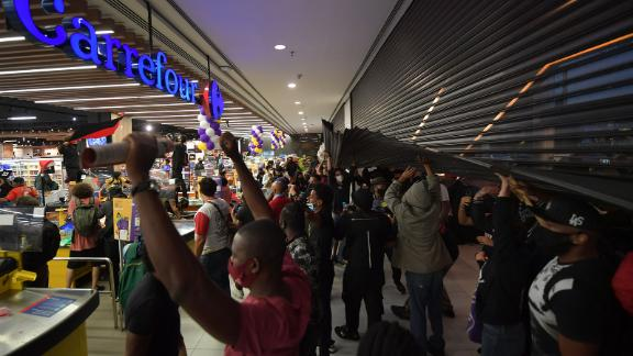 Demonstrators on November 20, 2020  during a protest against racism.