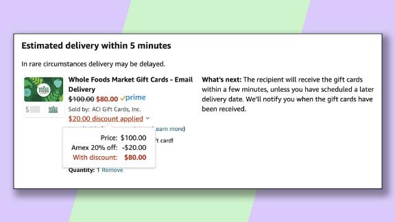 Save money on your grocery bill by buying a Whole Foods gift card at Amazon with this promotion.