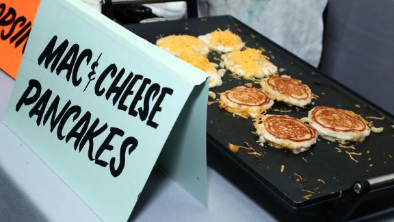 NEW YORK, NY - JUNE 14:  Macaroni and cheese pancakes by Shopsin's are served during Housing Works taste of home 2017 on June 14, 2017 in New York City.  (Photo by Astrid Stawiarz/Getty Images for Housing Works)