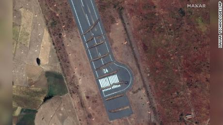 Trenches across the runway of Axum airport in the Tigray region of Ethiopia, seen in this satellite image from Maxar Technologies taken on November 23