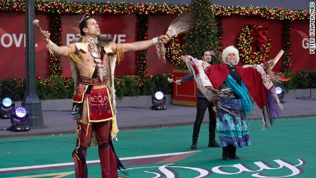 Indigenous ambassadors during the blessing and land acknowledgment at the Macy's Thanksgiving Day Parade.