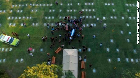 Aerial view of the burial of the late Argentine football legend Diego Armando Maradona.