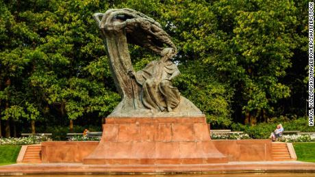 A statue of Chopin in the Royal Baths Park, Warsaw.